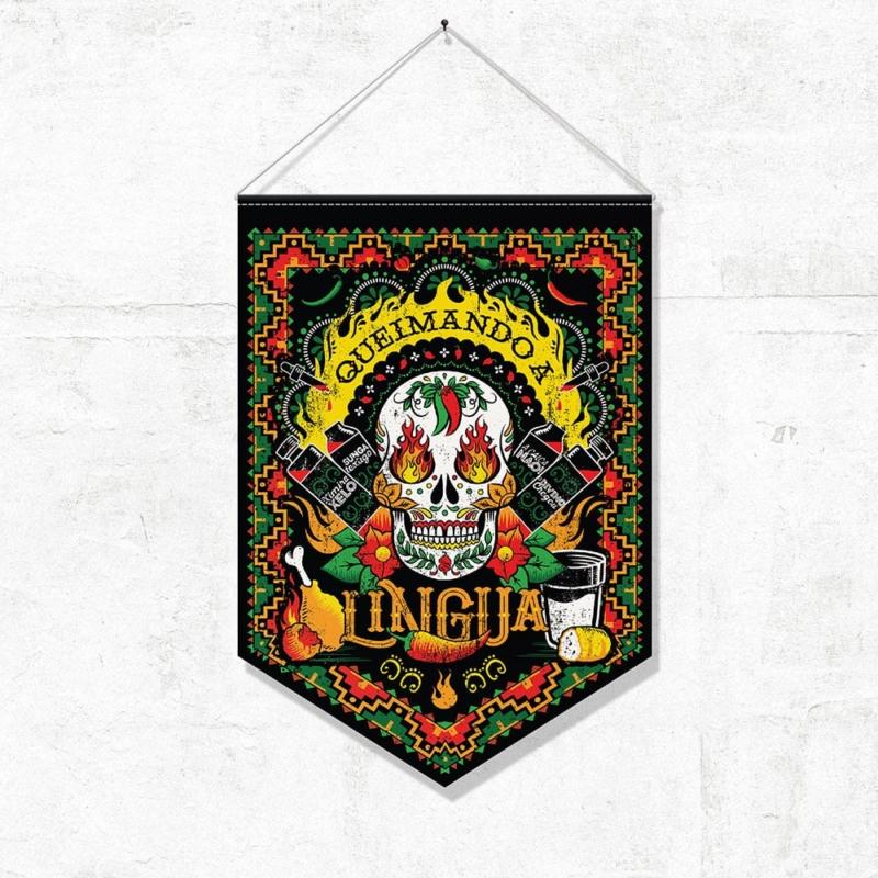Bandeirola Caveira Queimando a Língua