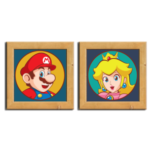 Conjunto de quadrinhos Mario and Peach