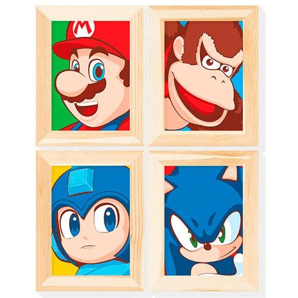 Conjunto de quadrinhos Personagens Game