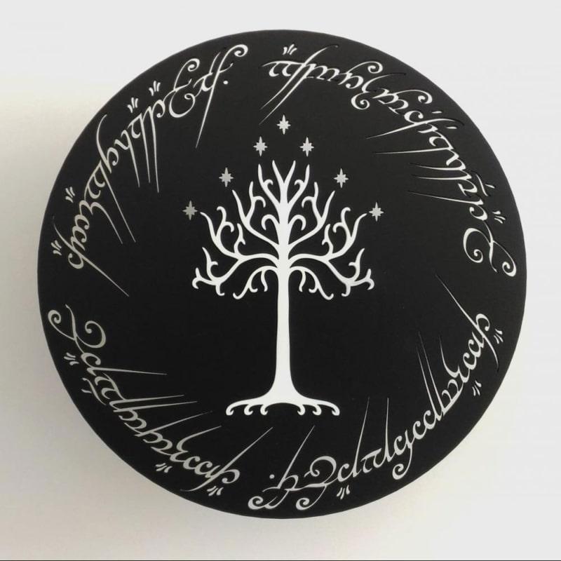 Quadro de Porta Terra Média - Árvore Branca - 29 x 29 cm