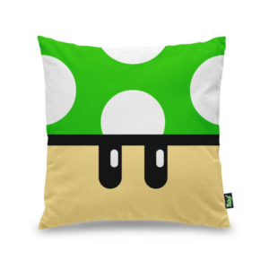 Almofada Decorativa Gamer - Cogumelo Verde 1 Up