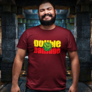 Camiseta Double Damage - Dado RPG