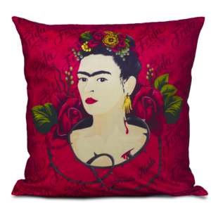 Almofada Decorativa Face and Red Roses - Frida Kahlo