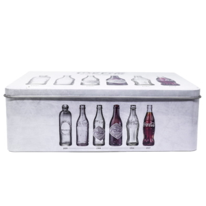 Lata de Metal Retangular Coca Cola Evolution Bottles