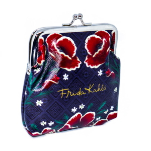 Porta Moedas Frida Kahlo Red Flowers Azul