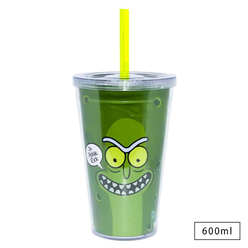 Copo com Canudo Rick and Morty - Pickle Rosto