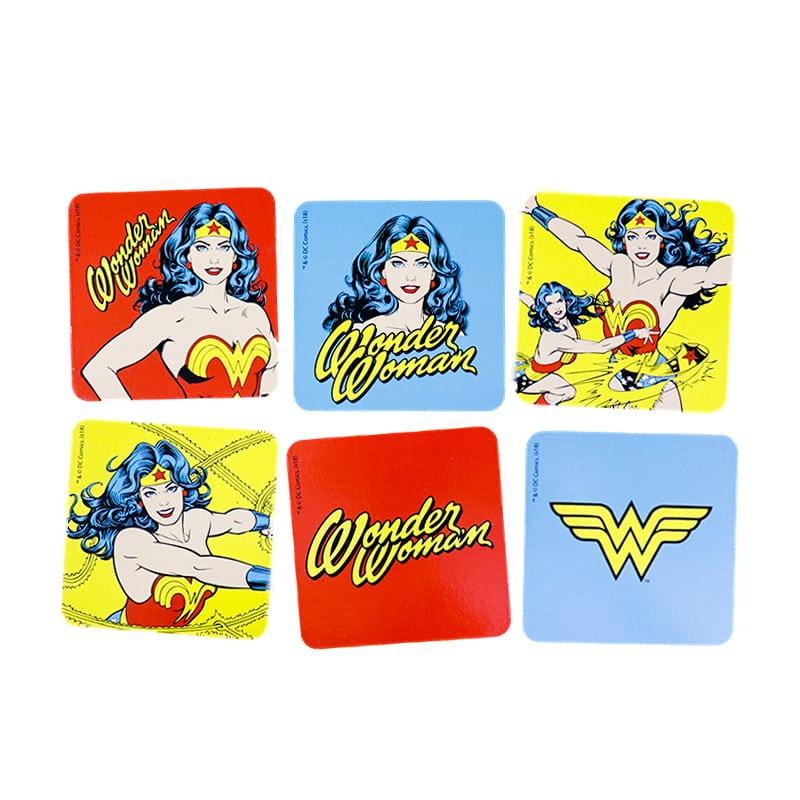 Kit 6 Porta Copos Wonder Woman Comics and Logo