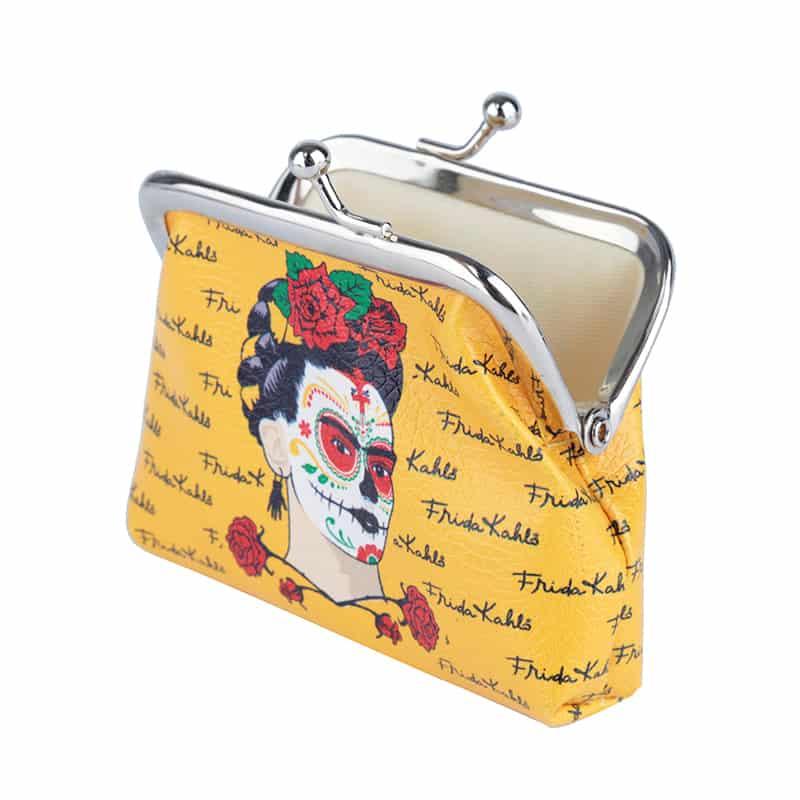 Porta Moedas Frida Kahlo Face Amarelo