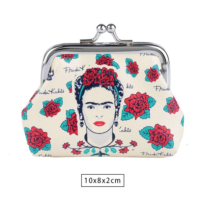 Porta Moedas Frida Kahlo Face and Skull Branco