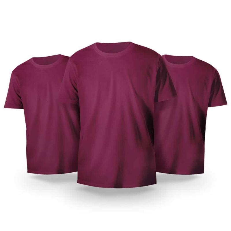 Kit Básico 3 Camisetas Bordô
